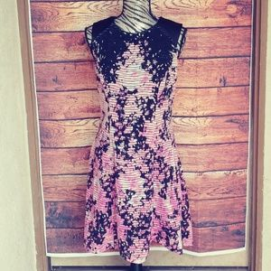 ECI pink and black fit and flare dress size Medium